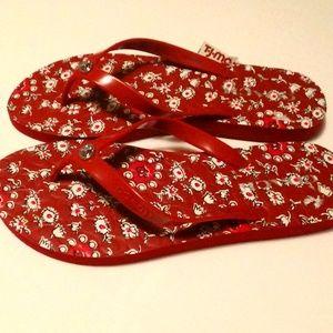 NWT Coach Abbigail Sandals Flip Flops Red Floral